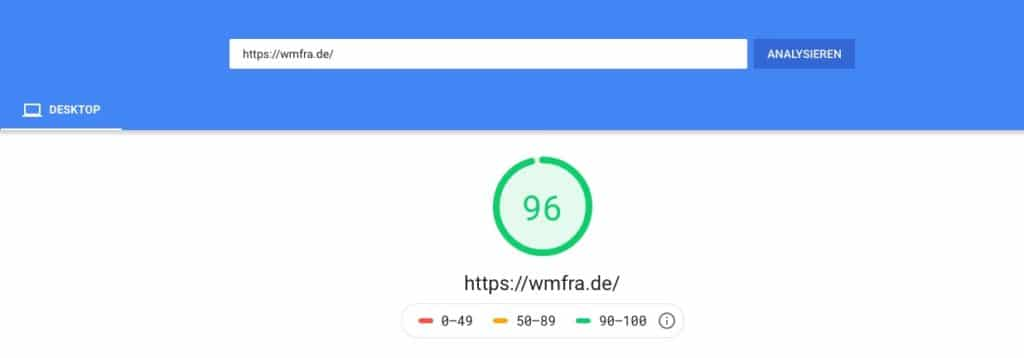 WMFRA Site mit 96/100 google pagespeed