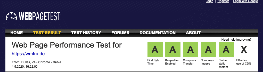 AAAAA Ergebnis - webpagetest.org